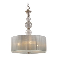 Elk Lighting Alexis Antique Silver Pendant Light with Drum Shade
