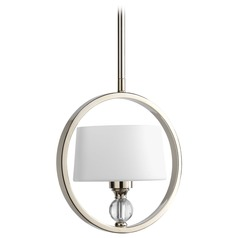 Progress Modern Drum Mini-Pendant Light in Polished Nickel Finish