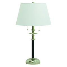 House Of Troy Bennington Black with Polished Nickel Table Lamp with Empire Shade