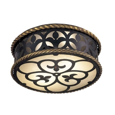Wrought Iron Ceiling Flushmount Light with French Scavo Glass