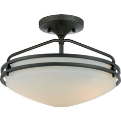 Modern Semi-Flushmount Light with White Glass in Iron Gate Finish