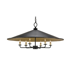 Modern Pendant Light in French Black/contemporary Gold Leaf Finish