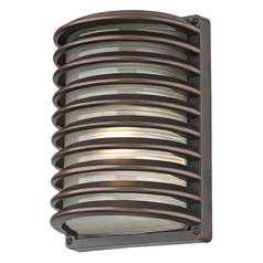 Bronze Outdoor Wall Light with White Glass and Horizontal Banding