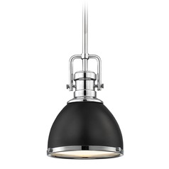 Industrial Black Mini-Pendant Chrome Accents 7.38-Inch Wide