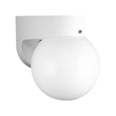Mid-Century Modern Outdoor Wall Light White Polycarbonate Outdoor by Progress Lighting