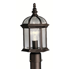 Kichler Post Light with Clear Glass in Black Finish