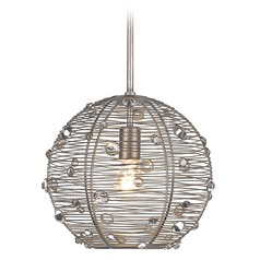 Golden Lighting Joia Peruvian Silver Pendant Light with Globe Shade