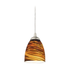 Design Classics Lighting Modern Mini-Pendant Light with Brown Art Glass 582-09 GL1023MB