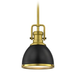 Small Metal Pendant Light Black / Brass 7.38-Inch Wide