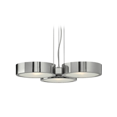 Modern Drum Pendant Light with White Glass in Polished Aluminum Finish