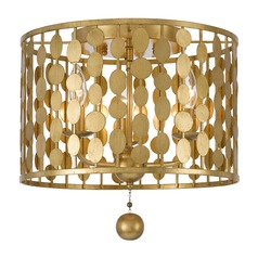 Crystorama Lighting Layla Antique Gold Flushmount Light