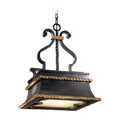 Island Pendant Light in French Black with Gold Leaf Finish
