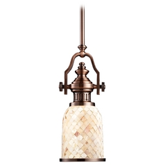 Vintage / Industrial Style Mini-Pendant Light with Mosaic Glass