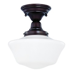 Design Classics Lighting 10-Inch Schoolhouse Semi-Flushmount Ceiling Light in Bronze Finish FBS-220 / GA10