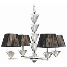 Contemporary Crystal Chrome Four Light Chandelier