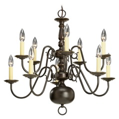 Progress Two Tier Colonial Bronze Chandelier with Ten Lights