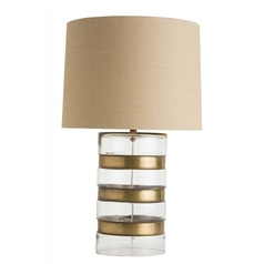 Arteriors Home Lighting Garrison Antique Brass Table Lamp with Drum Shade