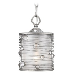 Golden Lighting Joia Peruvian Silver Mini-Pendant Light with Cylindrical Shade