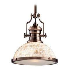 Industrial Copper Pendant Light with Mosaic Dome Shade