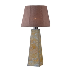 Outdoor Table Lamp with Rust Tapered Lamp Shade
