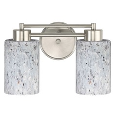 Design Classics Lighting Modern Bathroom Light with Grey Art Glass in Satin Nickel Finish 702-09 GL1025C