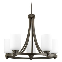 Progress Chandelier with Ring Design Bronze Finish White Glass