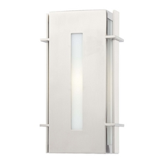 Outdoor Wall Light with White Glass in Brushed Stainless Steel Finish
