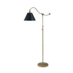 Swing Arm Lamp with Black Shade in Weathered Brass Finish