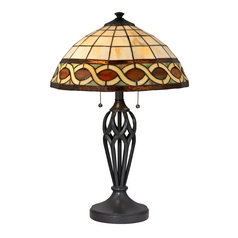 Tiffany Table Lamp with Pull-Chains