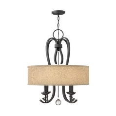 Drum Pendant Light with Beige / Cream Shade in Textured Black Finish
