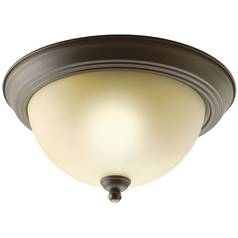 Kichler Flushmount Light with Brown Glass in Olde Bronze Finish