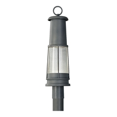 LED Post Light with Clear Glass in Storm Cloud Finish