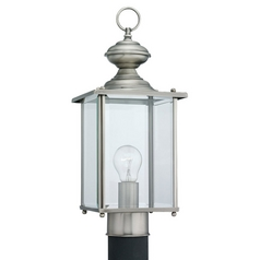 Post Light with Clear Glass in Antique Brushed Nickel Finish