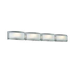 Modern Bathroom Light with Clear Glass in Polished Chrome Finish