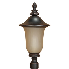Post Light with Beige / Cream Glass in Old Penny Bronze Finish