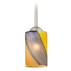Design Classics Gala Fuse Satin Nickel LED Mini-Pendant Light with Cylindrical Shade