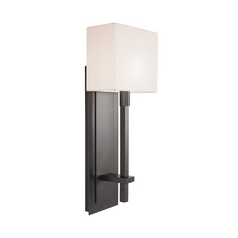 Modern Sconce Wall Light with White Shade in Black Bronze Finish