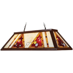 Billiard Light with Multi-Color Glass in Dark Mahogany Wood Finish