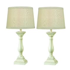 Modern Table Lamp Set with Beige / Cream Shade in Antique White Finish