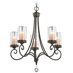Kichler Chandelier with Clear Glass in Shadow Bronze Finish