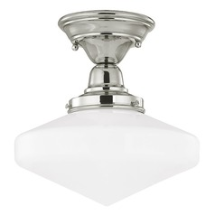 10-Inch Schoolhouse Ceiling Light in Polished Nickel Finish