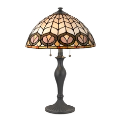 Pull-Chain Table Lamp with Tiffany Glass Shade