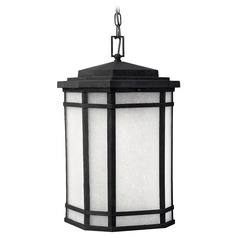 LED Outdoor Hanging Light with White Glass in Vintage Black Finish