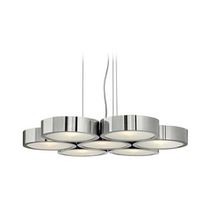 Frederick Ramond Modern Drum Pendant Light with White Glass in Polished Aluminum Finish FR41434PAL