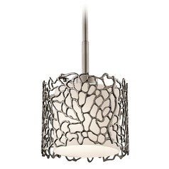 Kichler Lighting Silver Coral Classic Pewter Mini-Pendant Light with Drum Shade