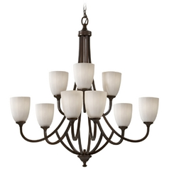 Modern Chandelier with White Glass in Heritage Bronze Finish