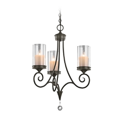 Kichler Mini-Chandelier with Clear Glass in Shadow Bronze Finish