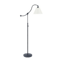 Arc Lamp with White Shade in Oil Rubbed Bronze Finish