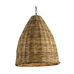 Pendant Light with Brown Wicker Shade in Natural Finish