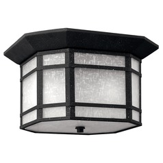 Close To Ceiling Light with White Glass in Vintage Black Finish
